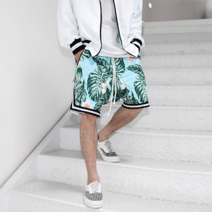 Retro high street tide crowd men with the fog leaf flower men's summer loose sports basketball casual shorts