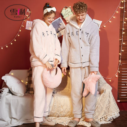Xue Li autumn and winter coral fleece couple pajamas women thickened plus velvet flannel men's winter home service cute suit