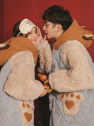 Coral velvet couple pajamas women autumn and winter models three-layer quilted long-sleeved thick suit men's flannel home service